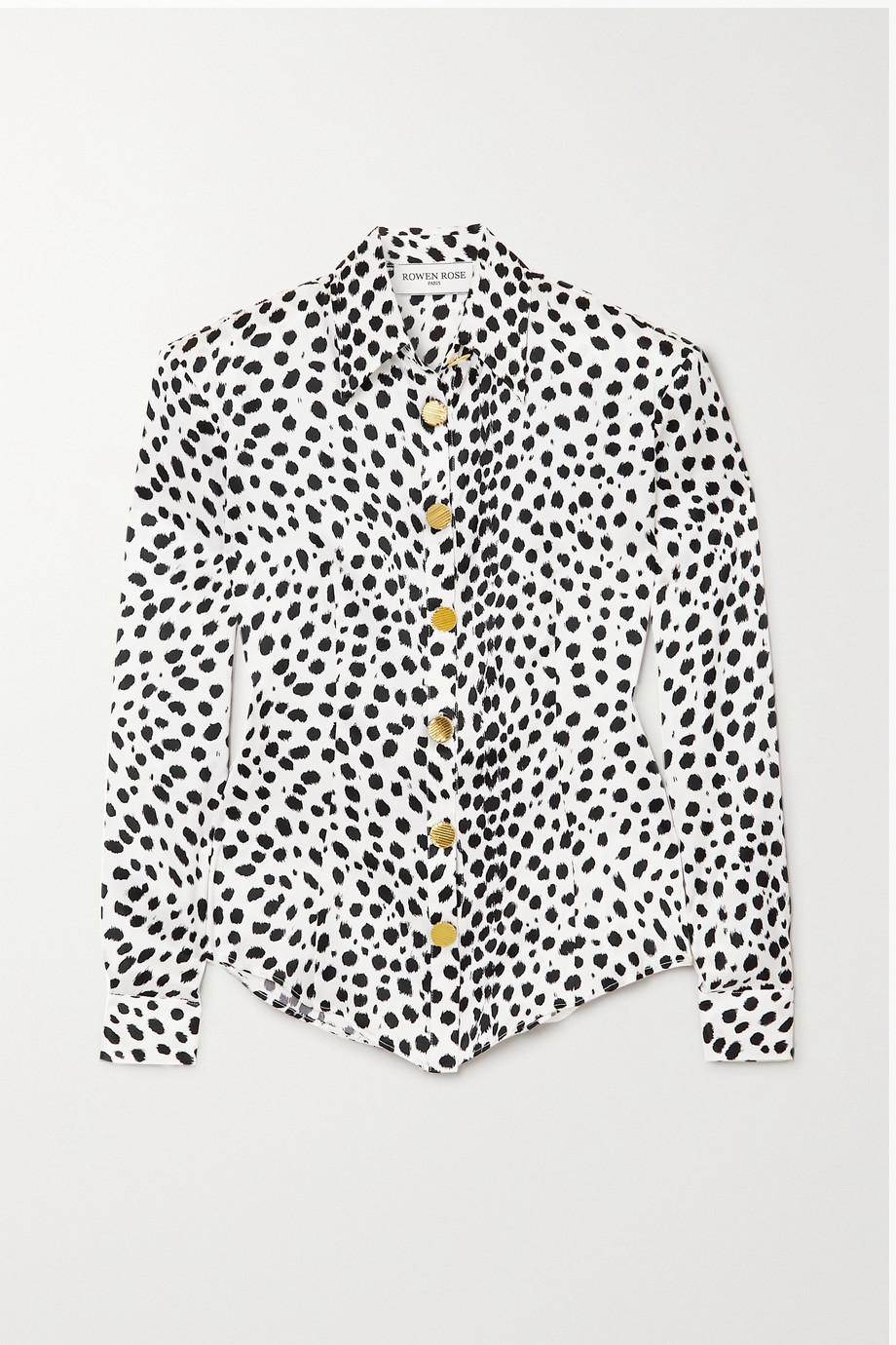 Rowen Rose Animal-print silk-satin shirt