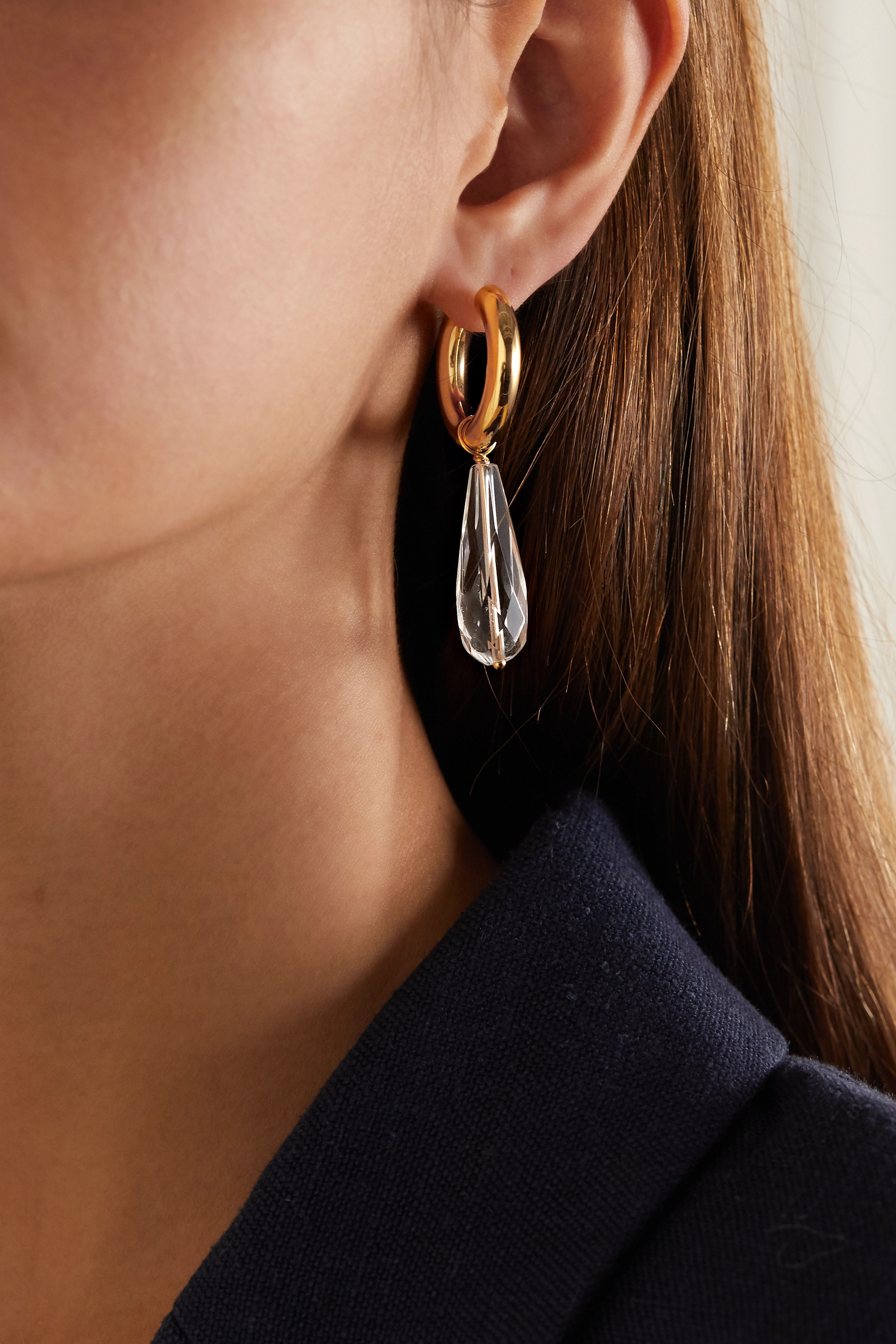 Timeless Pearly Gold-tone, resin and crystal earrings