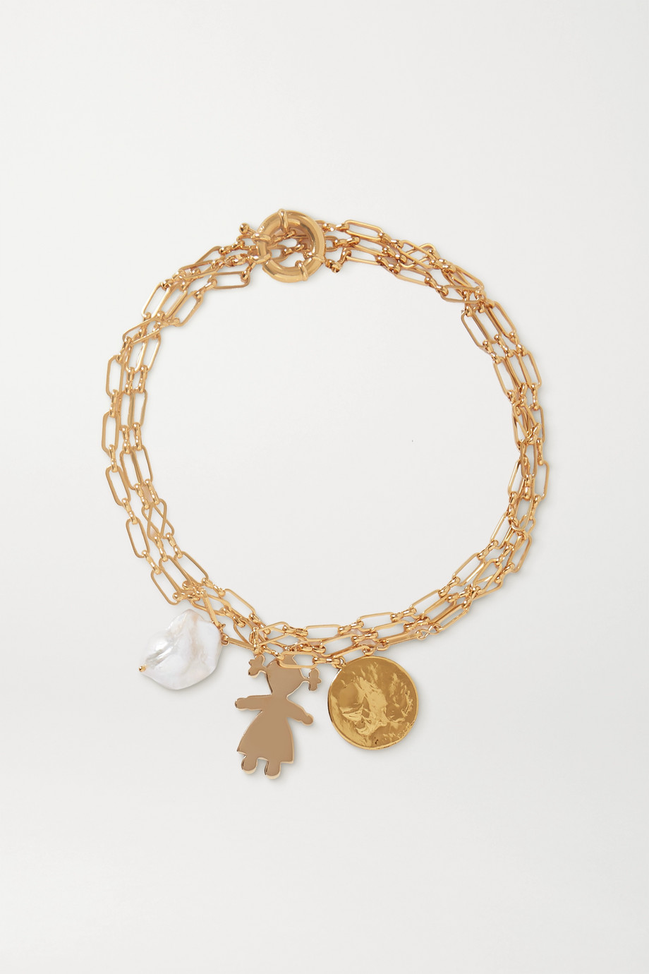 Timeless Pearly Gold-tone pearl necklace