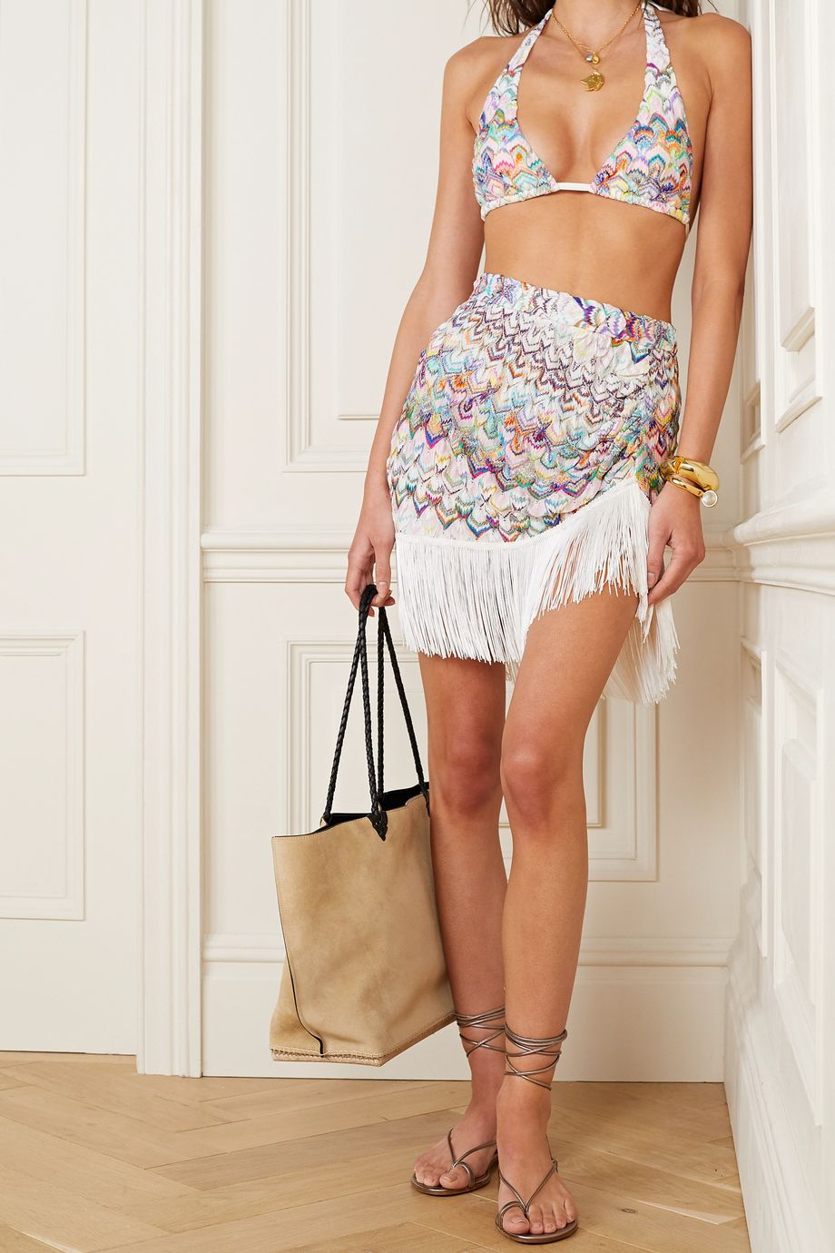Missoni Fringed ruched metallic crochet-knit mini skirt