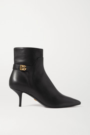 Dolce & Gabbana Logo-embellished leather ankle boots