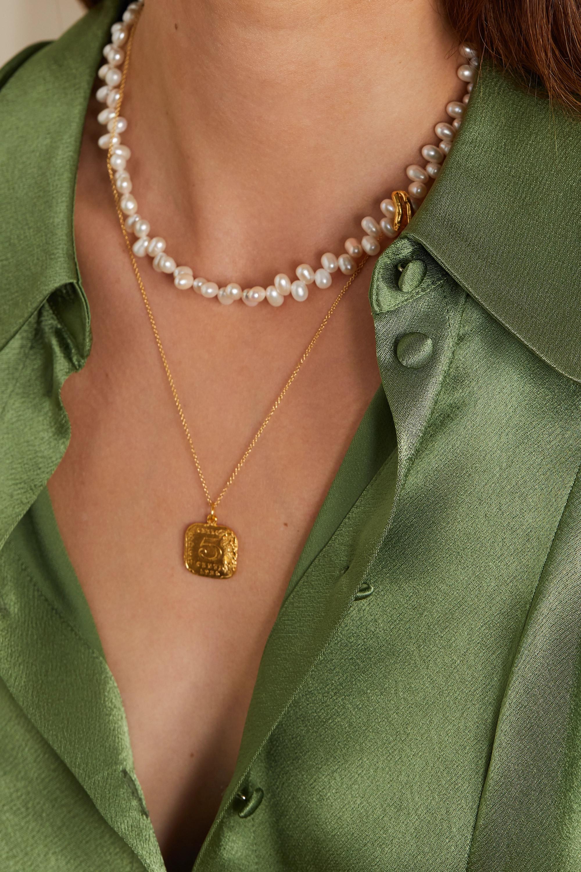 Alighieri La Calliope gold-plated pearl necklace
