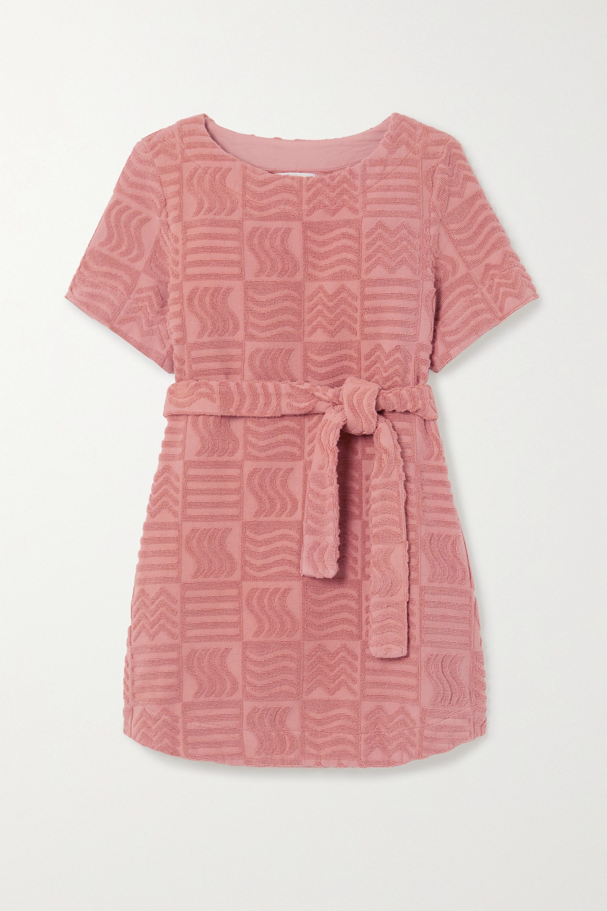 Lucy Folk Belted cotton-terry mini dress