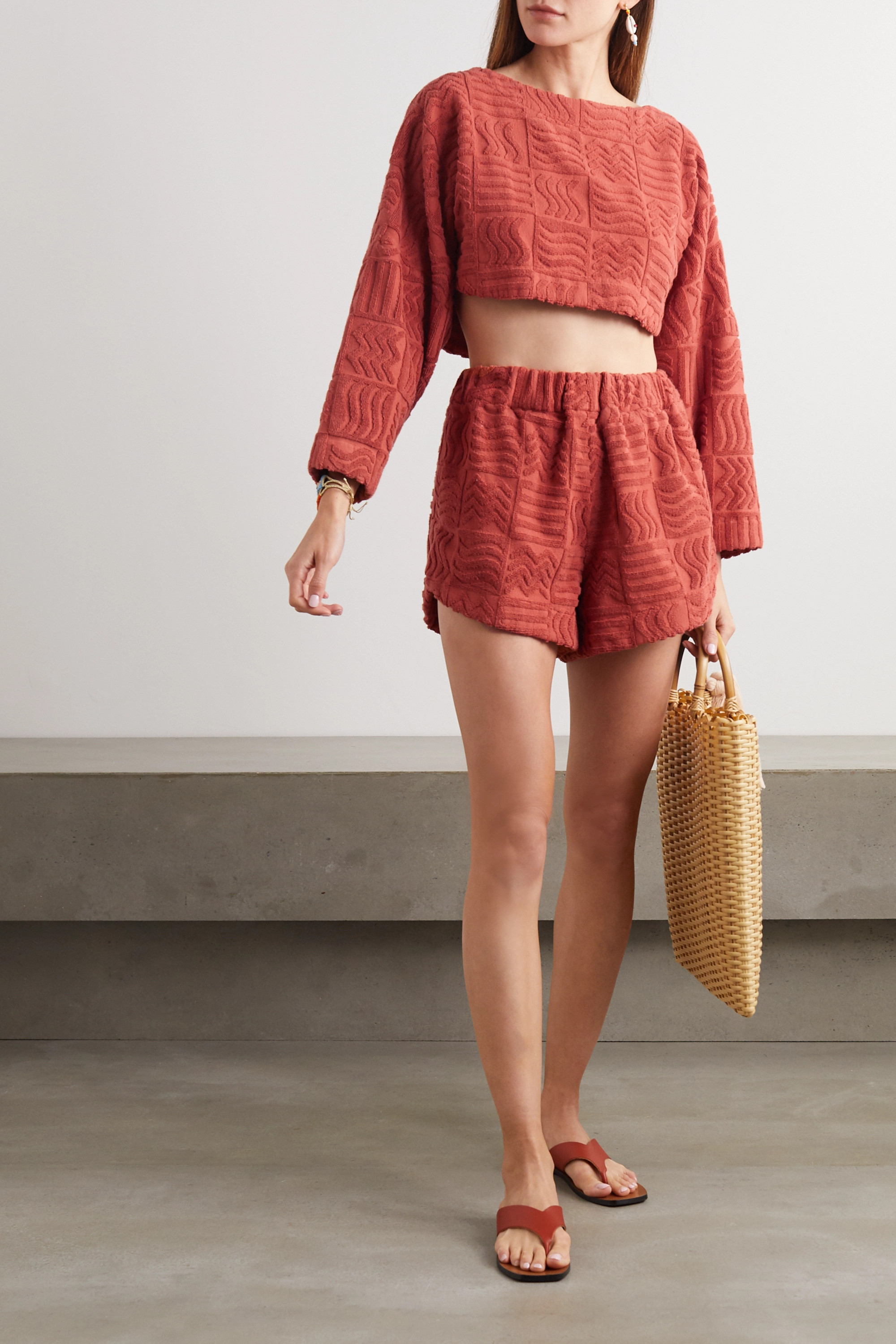 Lucy Folk Spritz cropped cotton-terry sweater