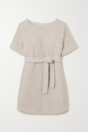Lucy Folk Belted cotton-blend terry mini dress