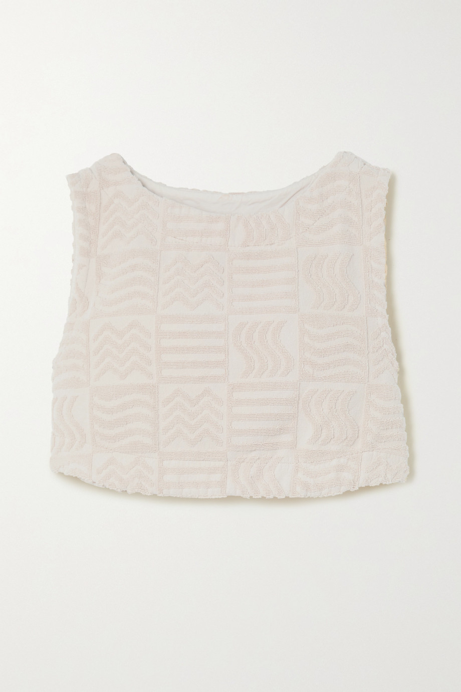 Lucy Folk Cabana cropped cotton-terry tank
