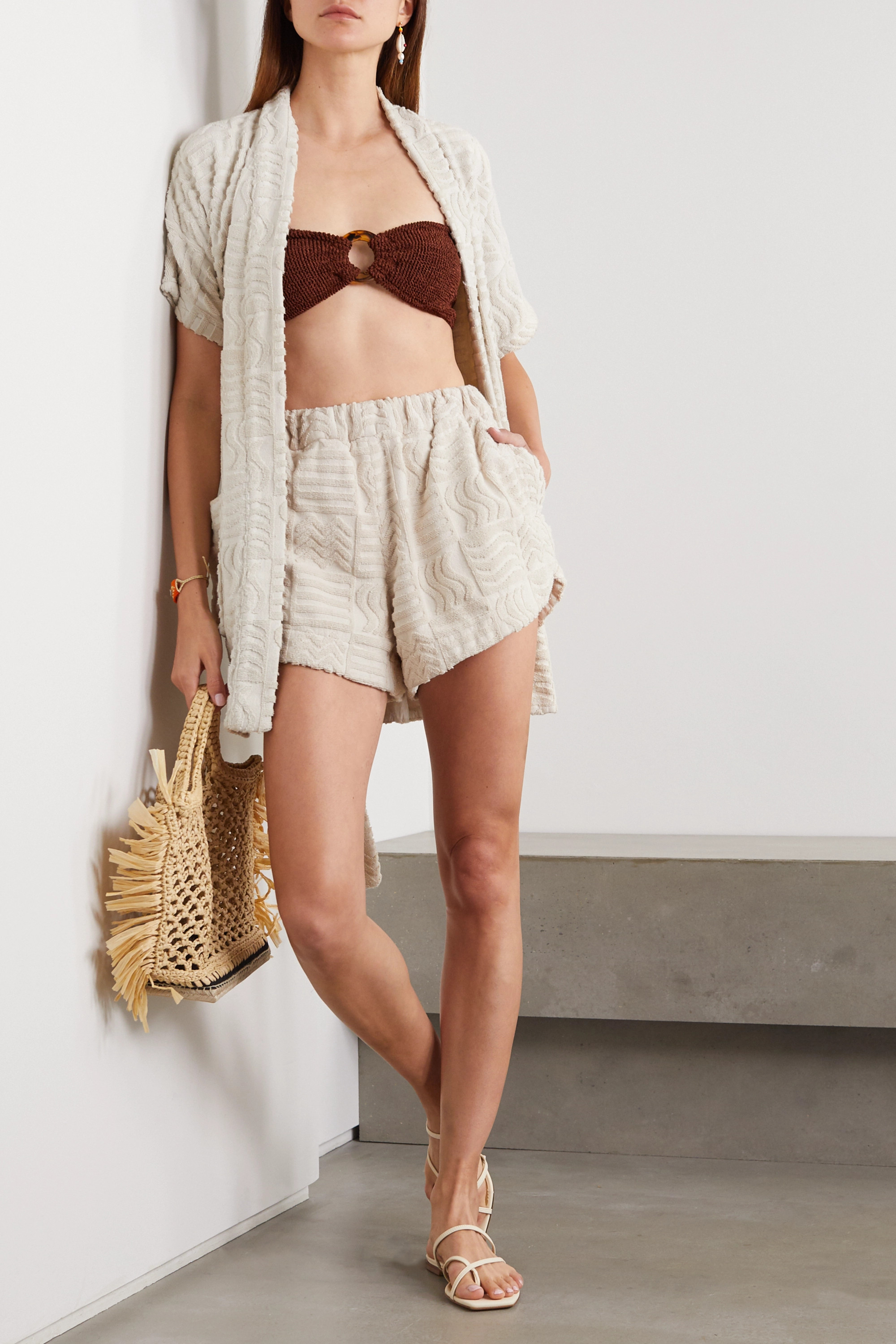 Lucy Folk Horizon belted cotton-terry robe