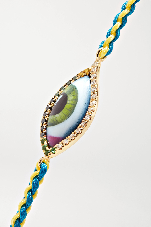 Lito Bracelet en or 14 carats, macramé et pierres multiples Petit Vert
