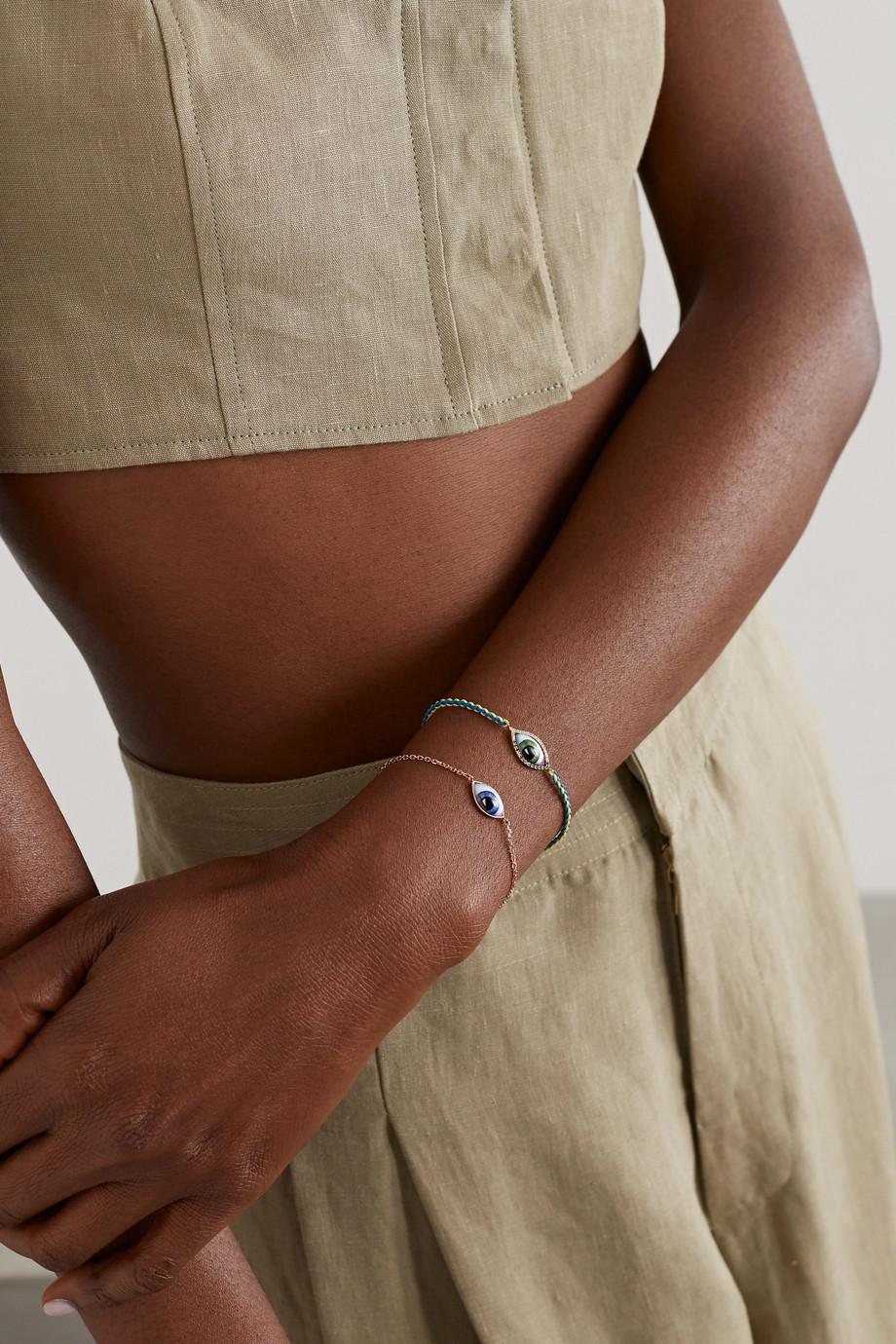 Lito Petit Vert 14-karat gold and macramé multi-stone bracelet