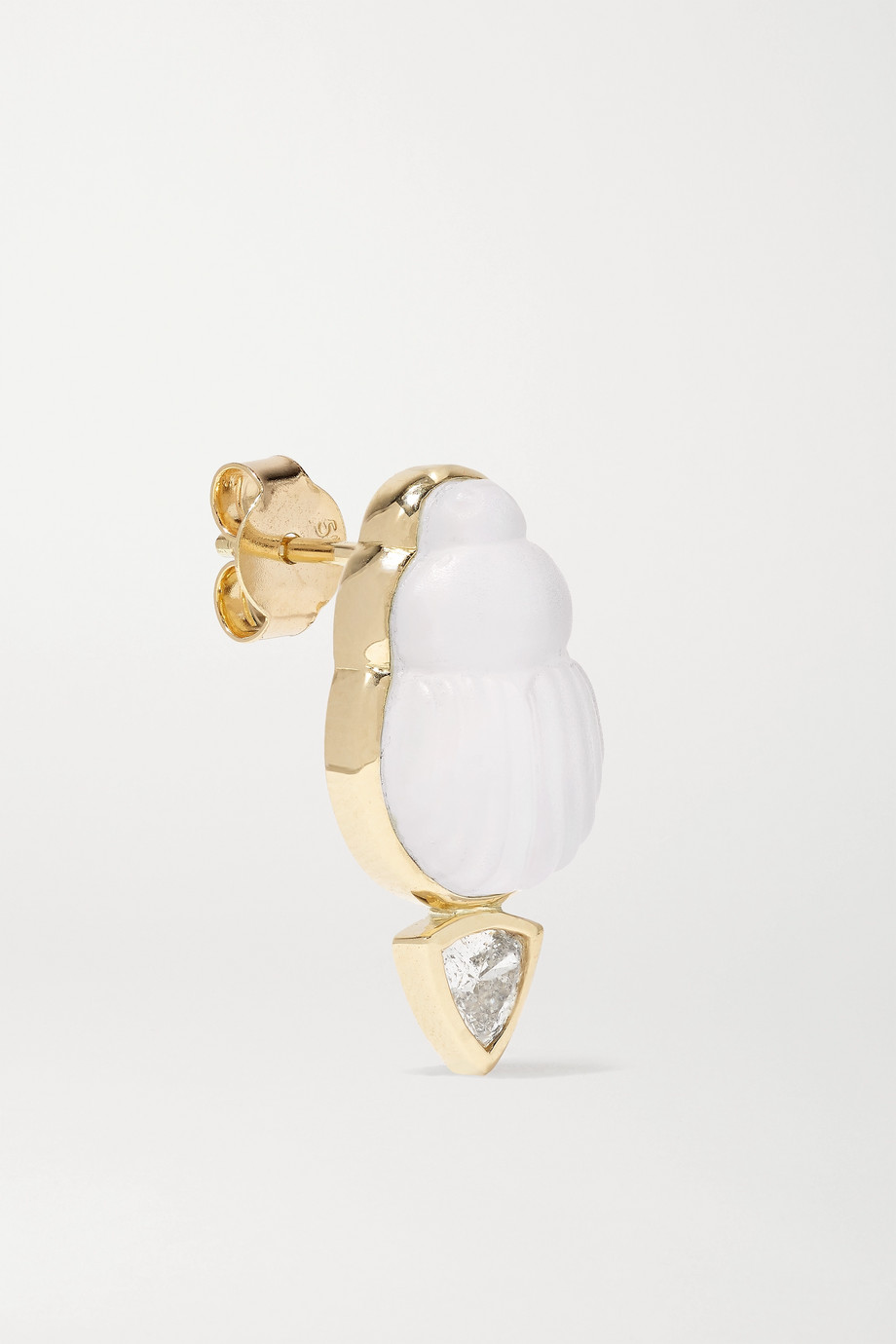 Lito Bianca 14-karat gold, mother-of-pearl and diamond earrings