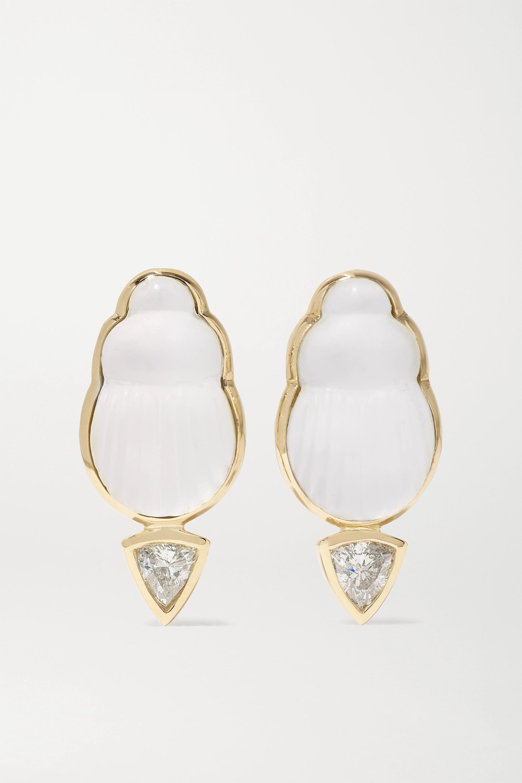 Lito Bianca Ohrringe aus 14 Karat Gold mit Perlmutt und Diamanten