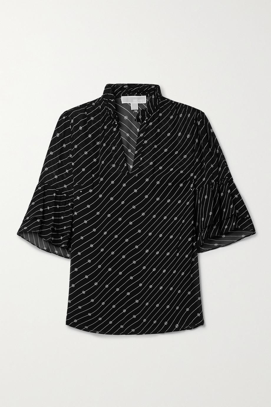 MICHAEL Michael Kors Ruffled printed crepe blouse