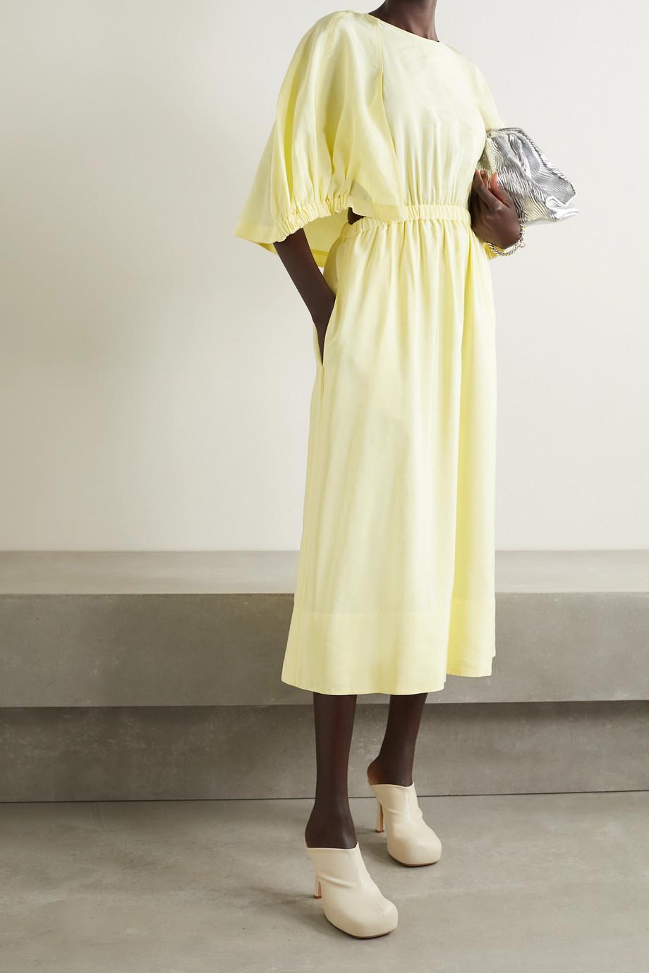 Tibi Gemma cape-effect cutout gathered woven midi dress