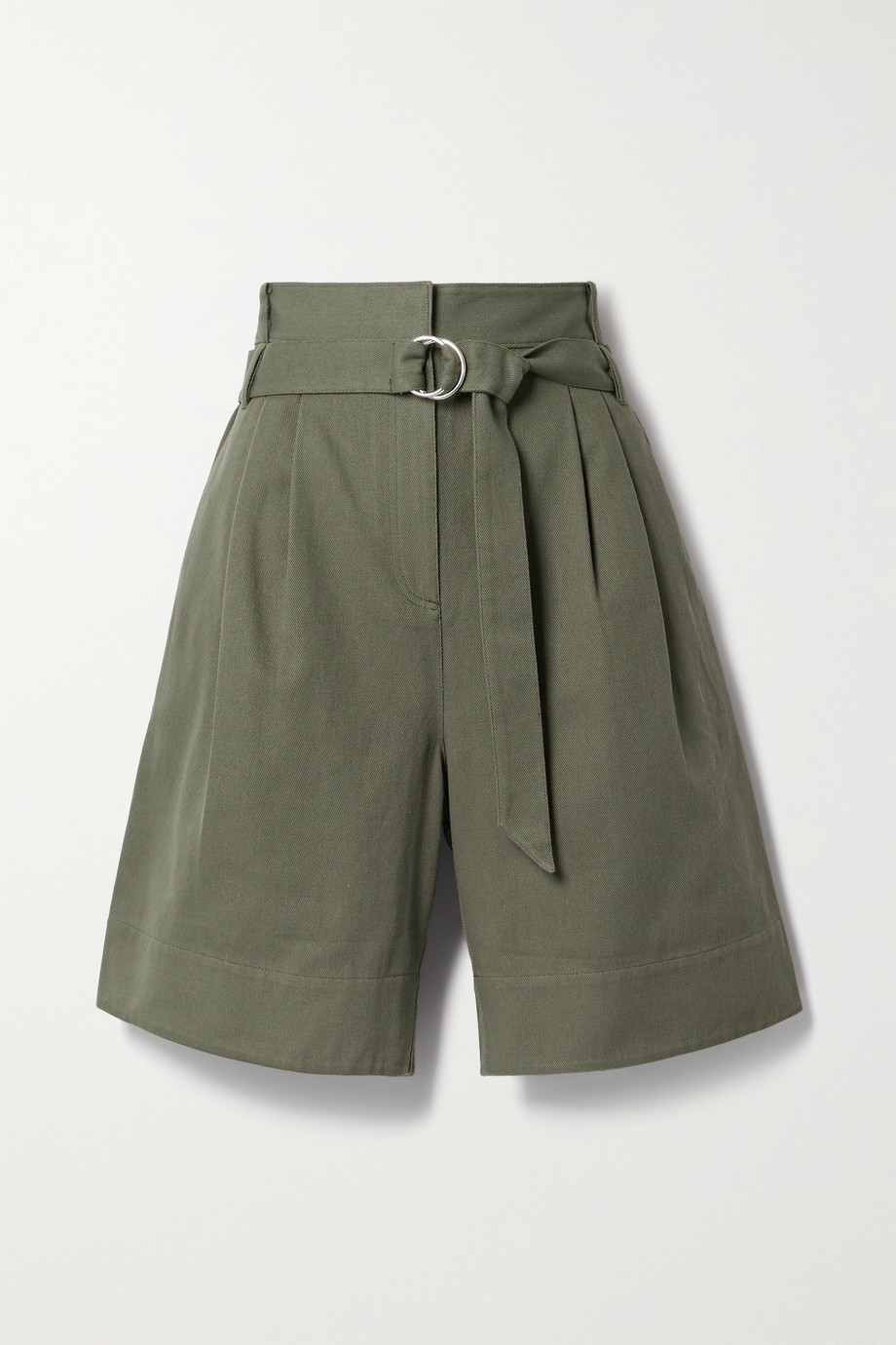 Tibi Jenson belted pleated cotton-twill shorts