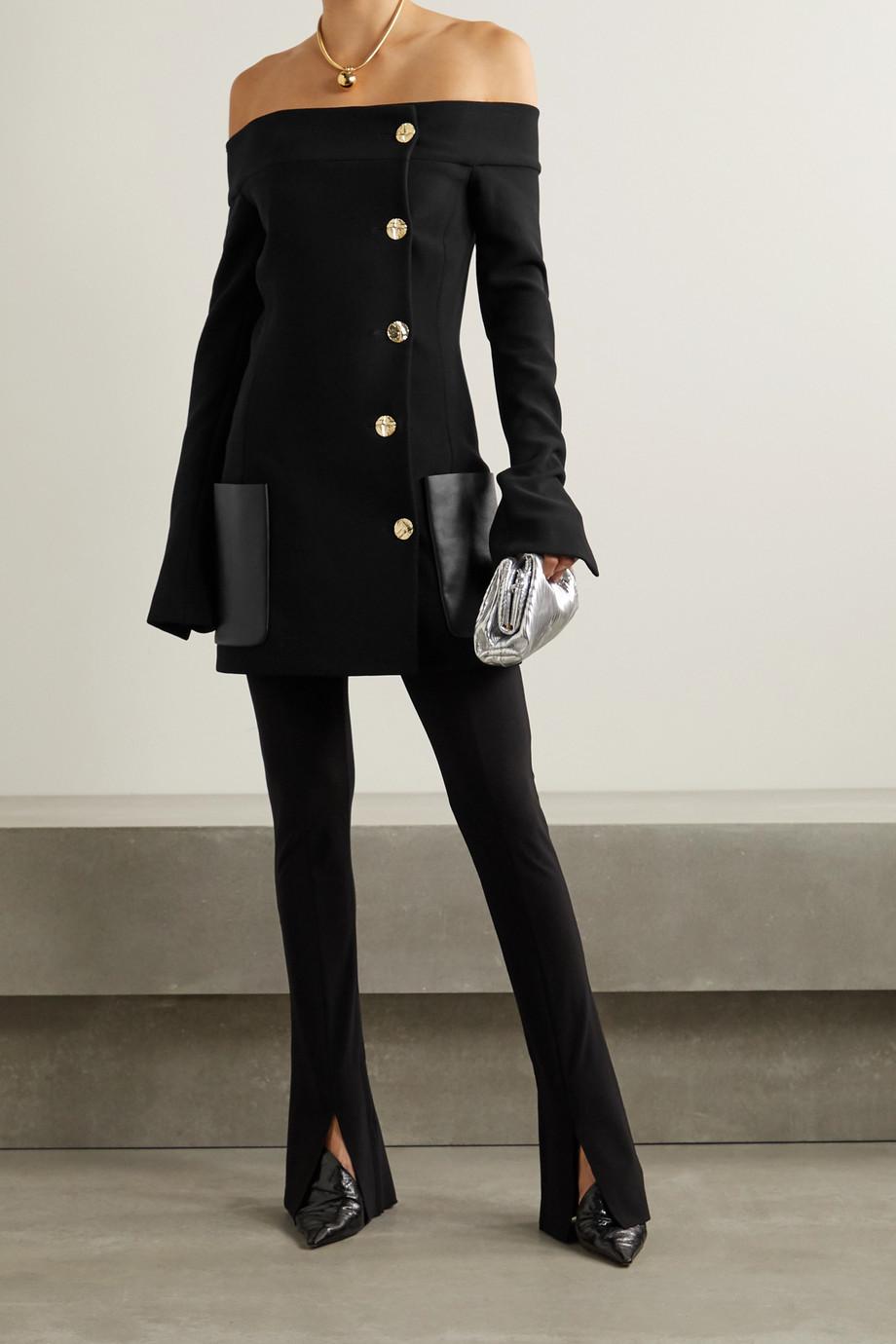 Proenza Schouler Off-the-shoulder leather-trimmed wool-blend crepe jacket