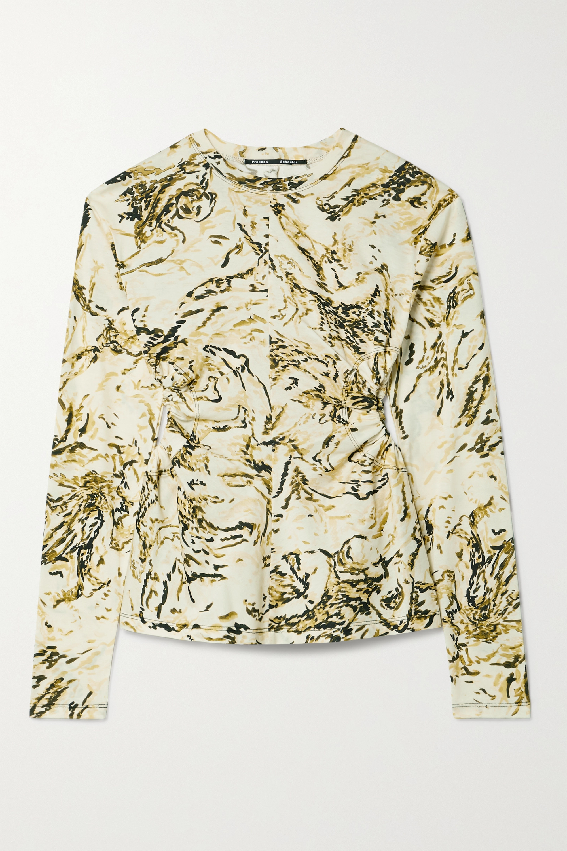 Proenza Schouler Cutout printed cotton-jersey top
