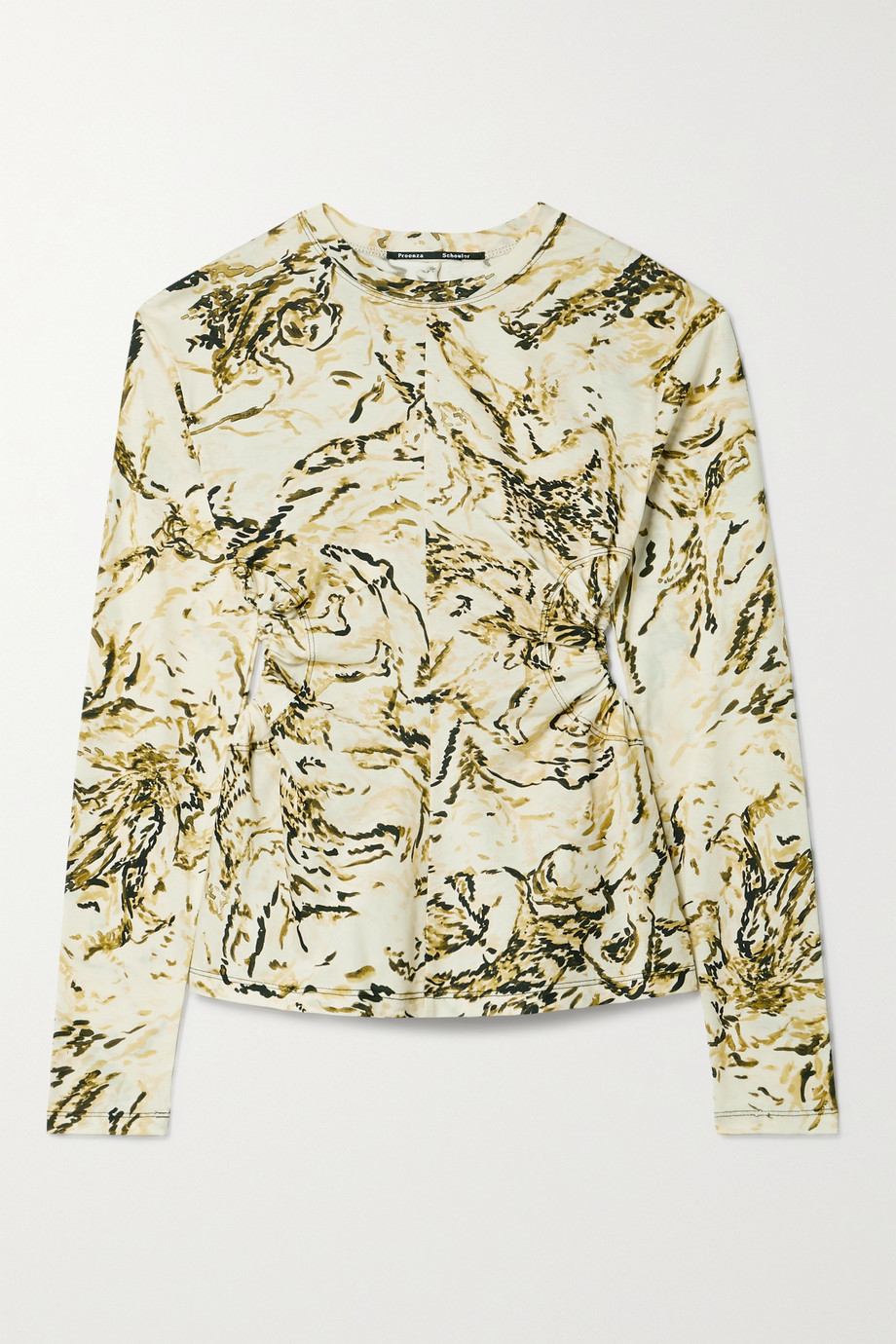Proenza Schouler Cutout printed cotton-jersey top