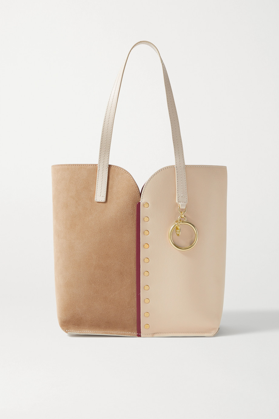 See By Chloé Gaia studded leather and suede tote