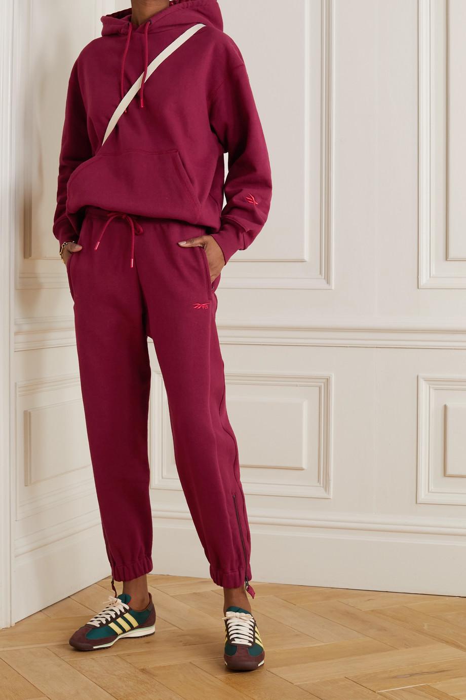 Reebok X Victoria Beckham Oversized embroidered cotton-jersey hoodie