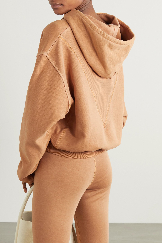 Reebok X Victoria Beckham Cropped embroidered cotton-jersey hoodie