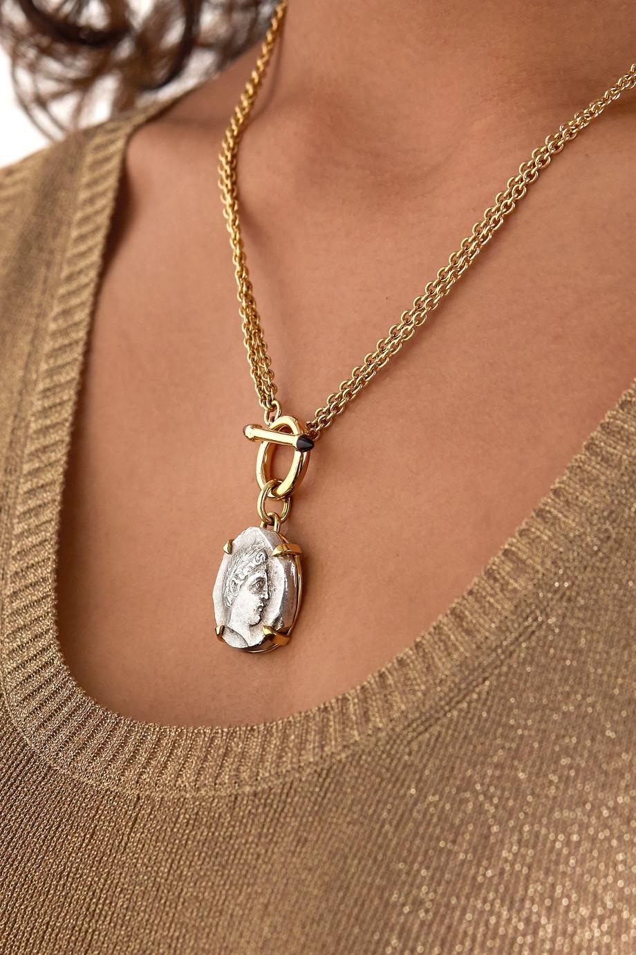 Dubini Apollo Kette aus 18 Karat Gold und Silber mit Rhodolithen
