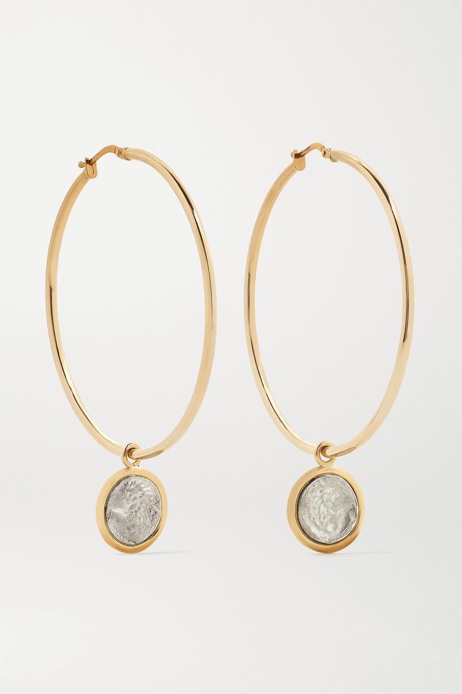 Dubini Lion 18-karat gold and sterling silver hoop earrings