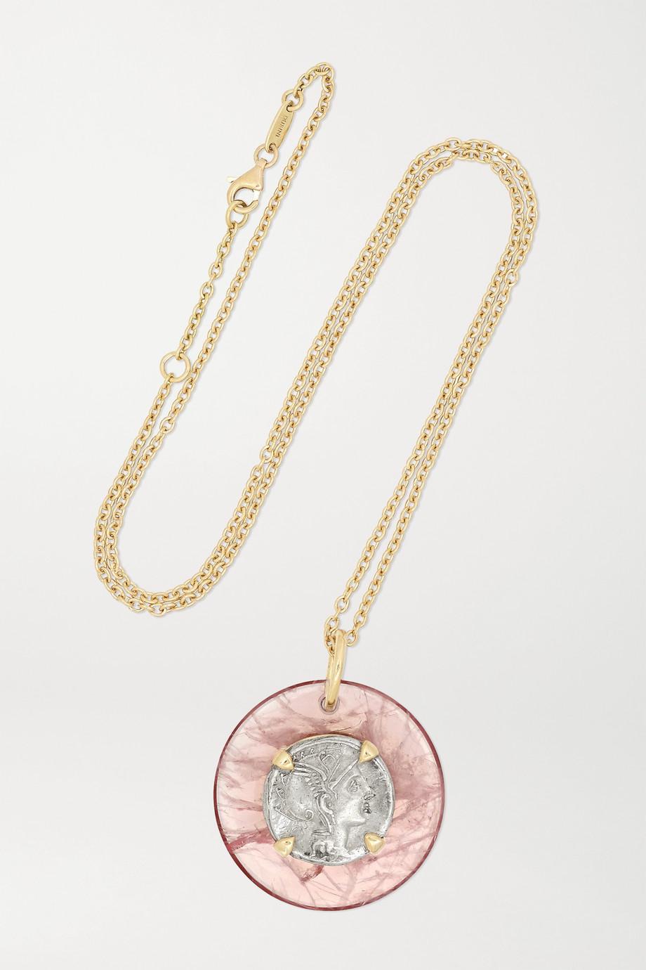 Dubini Roma Kette aus 18 Karat Gold und Silber mit Rosenquarz