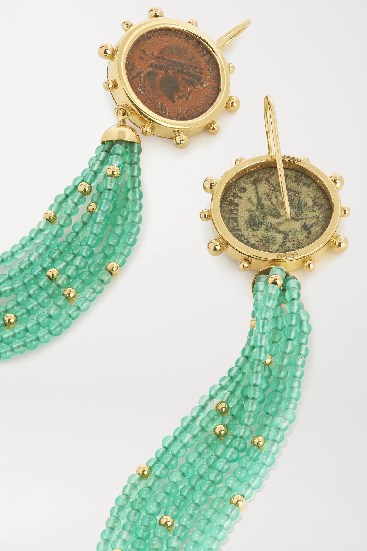 Dubini Constantine Ohrringe aus 18 Karat Gold mit Details aus Bronze und Achaten
