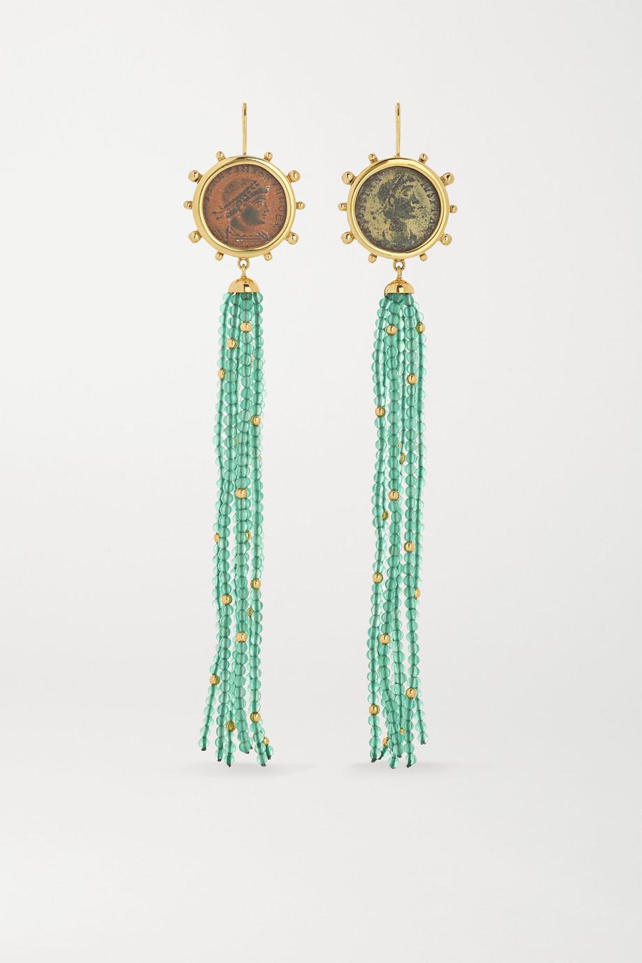Dubini Constantine 18-karat gold, bronze and agate earrings
