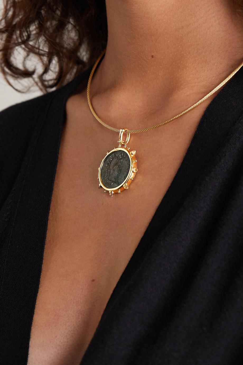 Dubini Nero 18-karat gold, bronze and moonstone choker