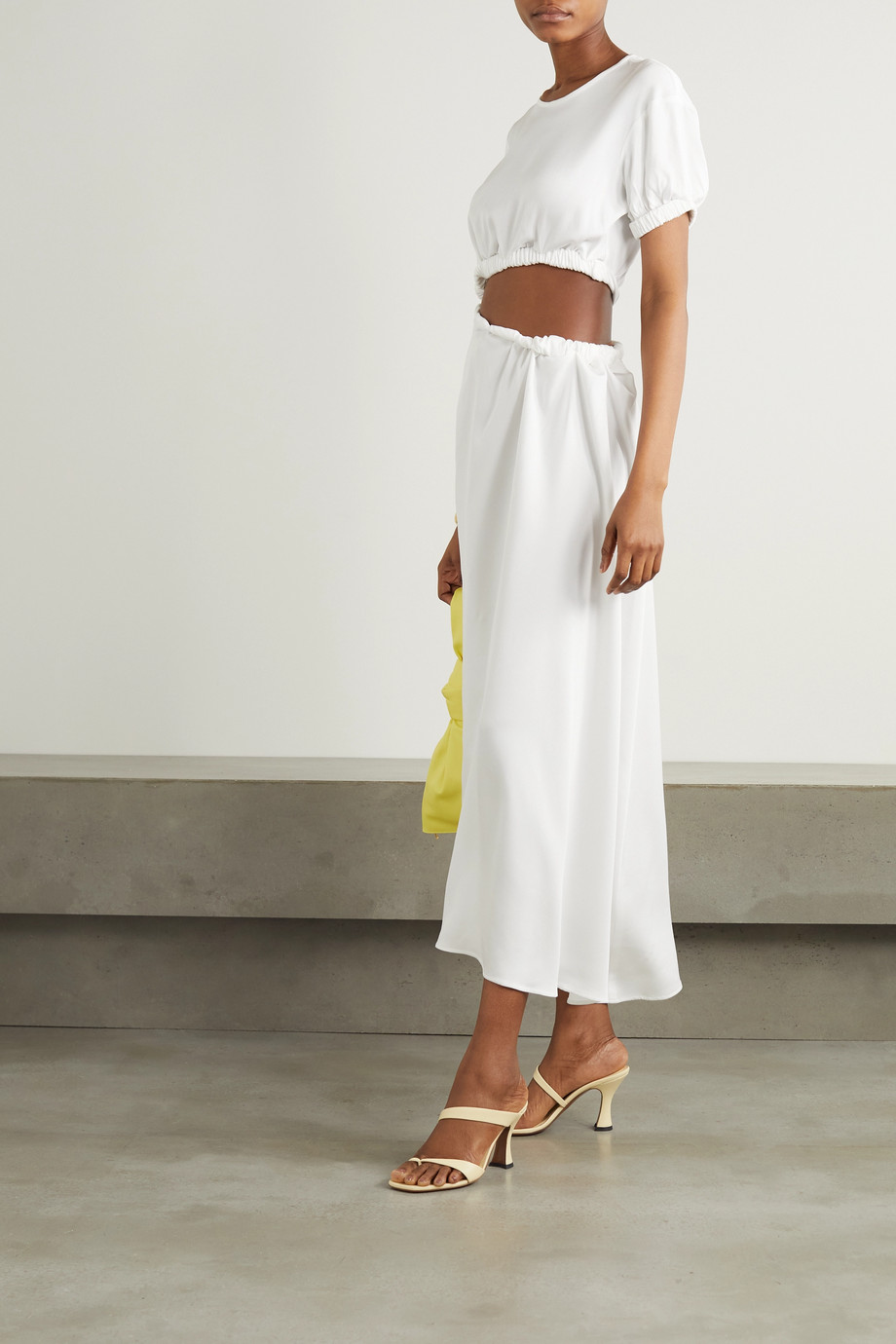 Christopher Esber Cutout gathered stretch-faille maxi dress