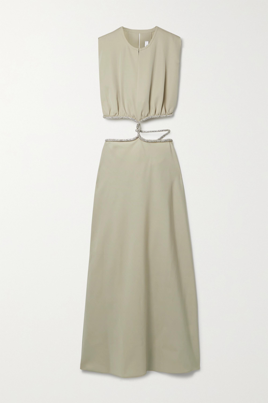 Christopher Esber Crystal-embellished cutout wool-twill maxi dress