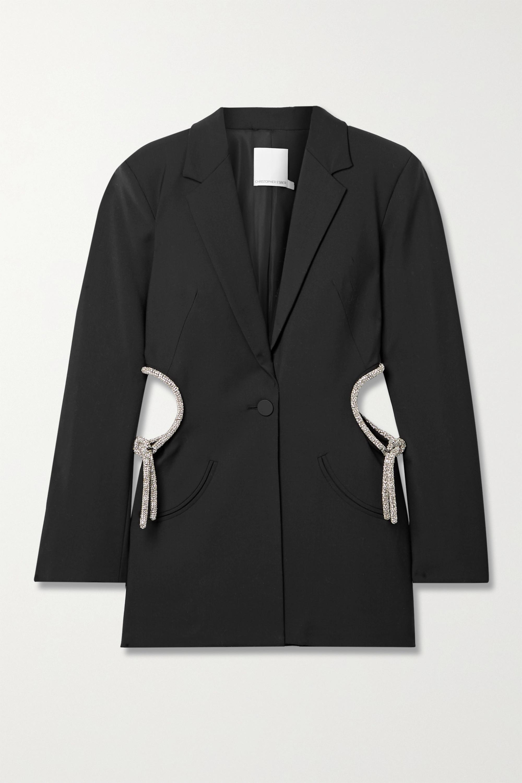 Christopher Esber Crystal-embellished cutout wool-blend blazer