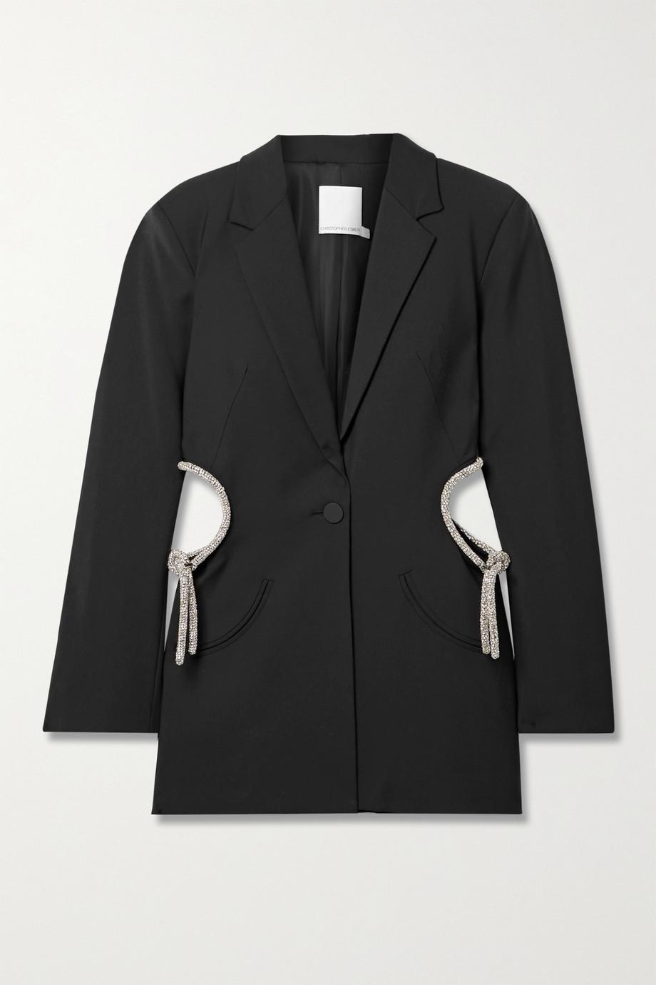 Christopher Esber 水晶缀饰挖剪羊毛混纺西装外套
