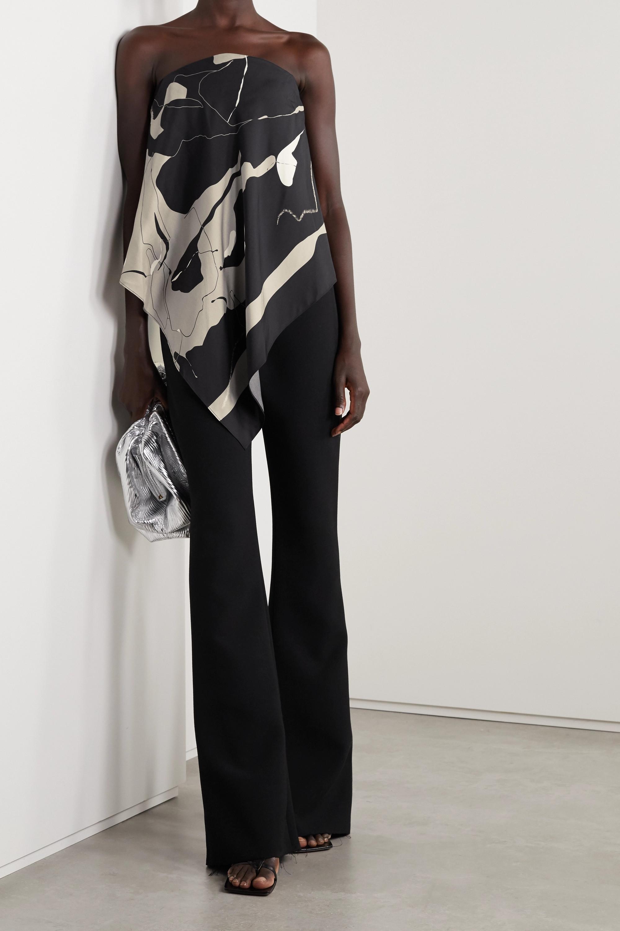 Christopher Esber Open-back printed silk-faille and crepe top