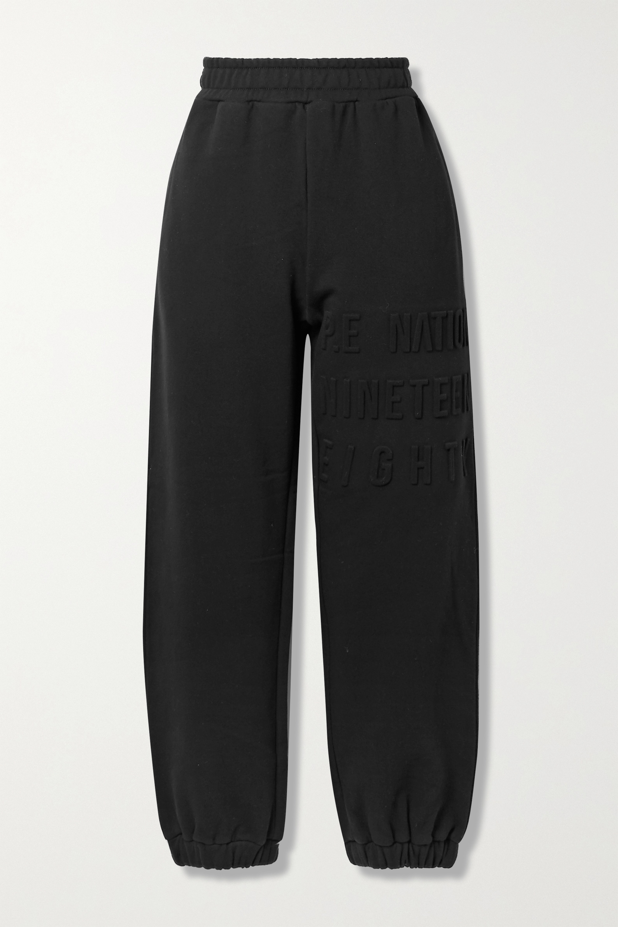 P.E NATION - Power Play embossed stretch organic cotton-jersey track pants
