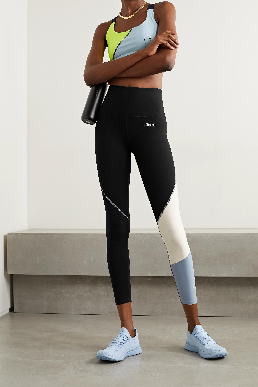 P.E NATION Retriever appliquéd color-block stretch leggings