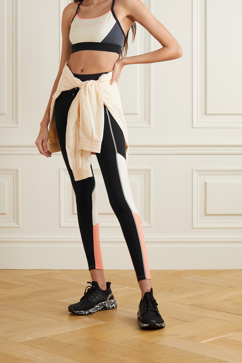 P.E NATION Forward Pass bedruckte Stretch-Leggings in Colour-Block-Optik