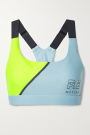 P.E NATION Twist Serve printed color-block stretch sports bra
