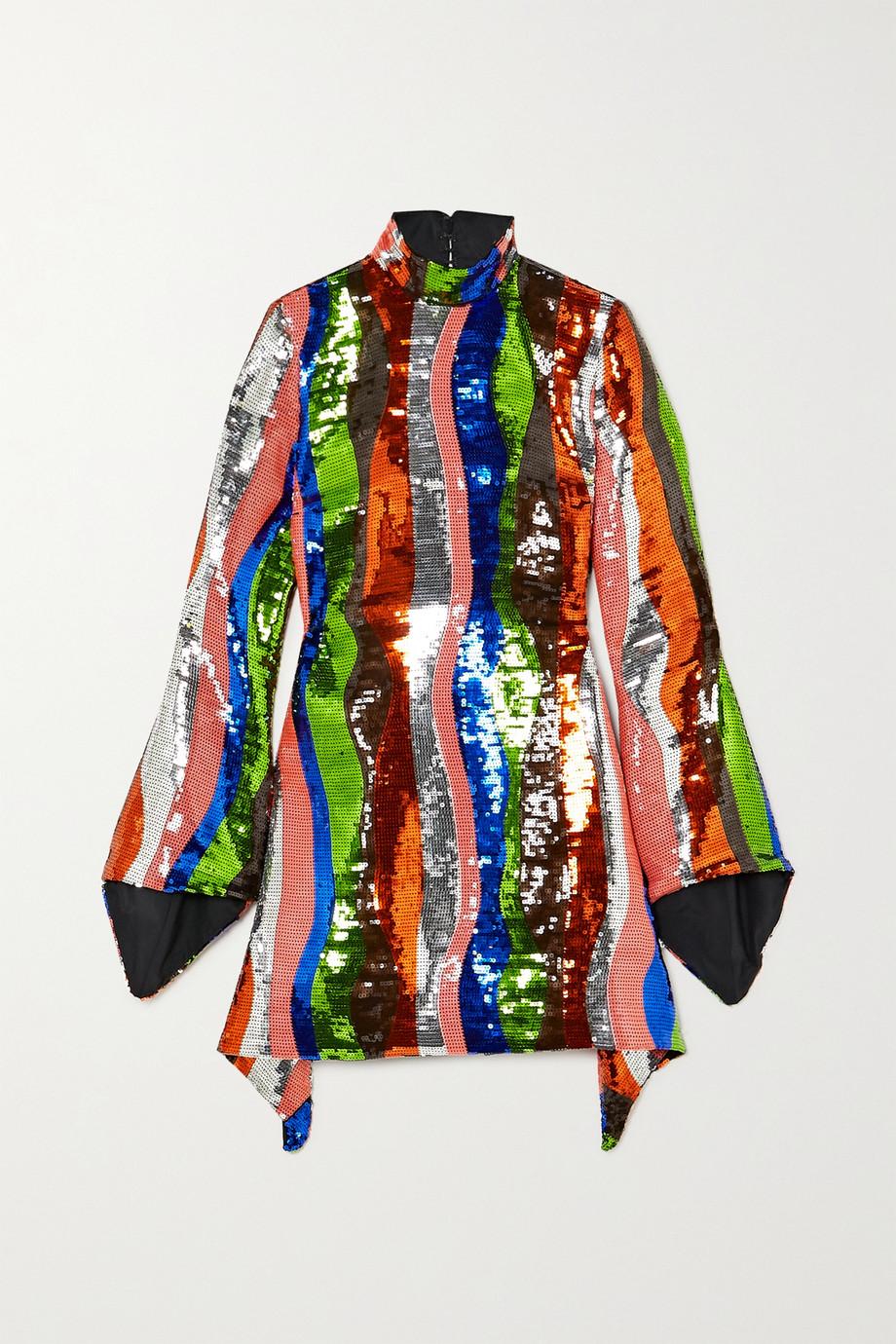 Halpern Minikleid aus Satin mit Pailletten und Streifen