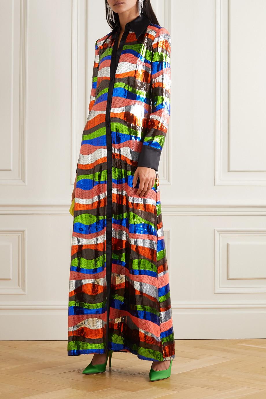Halpern Robe aus Satin mit Pailletten