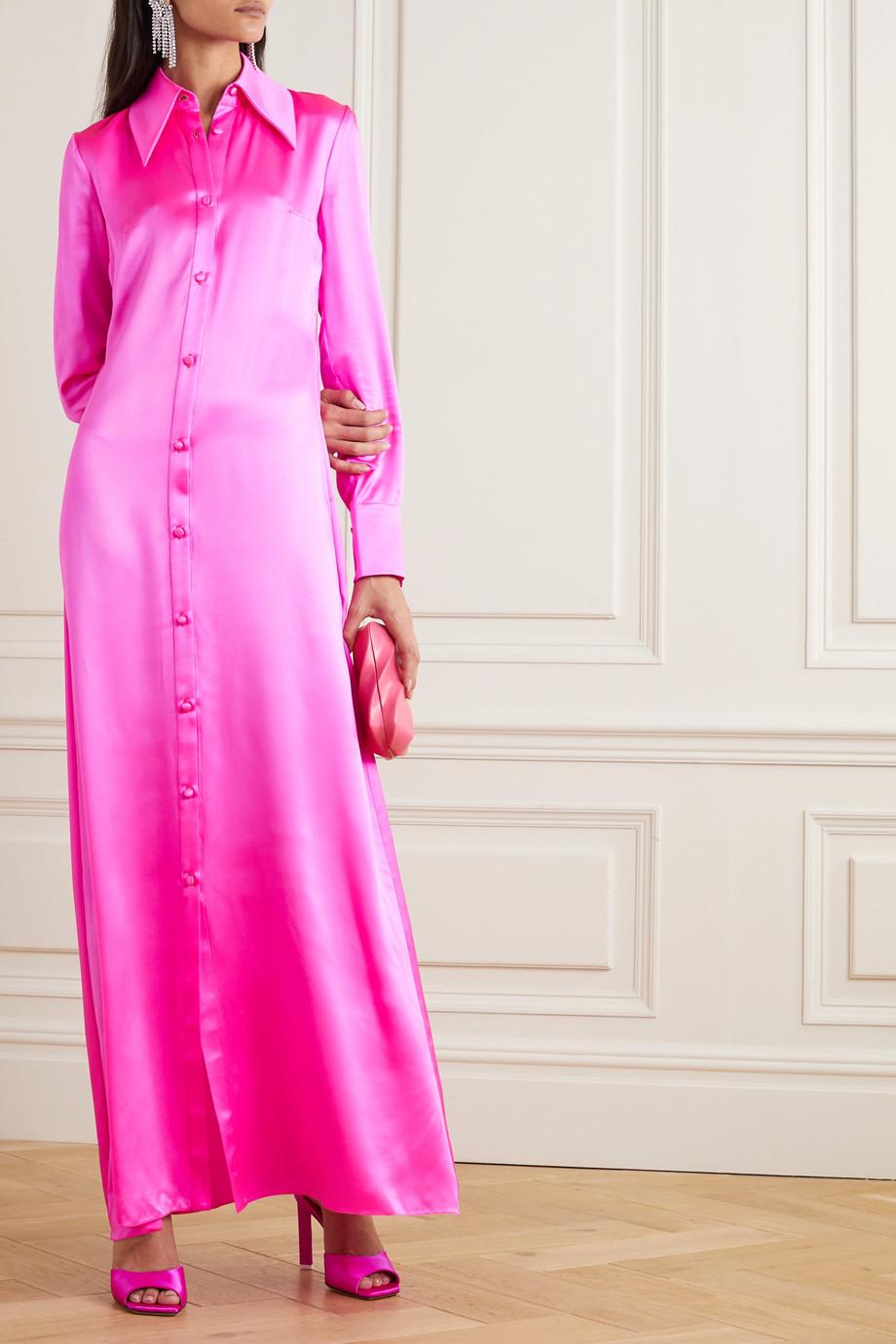Halpern Robe aus neonfarbenem Seidensatin