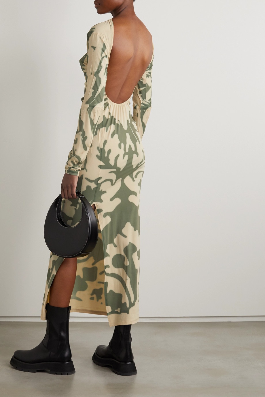 ioannes Open-back printed stretch-mesh maxi dress