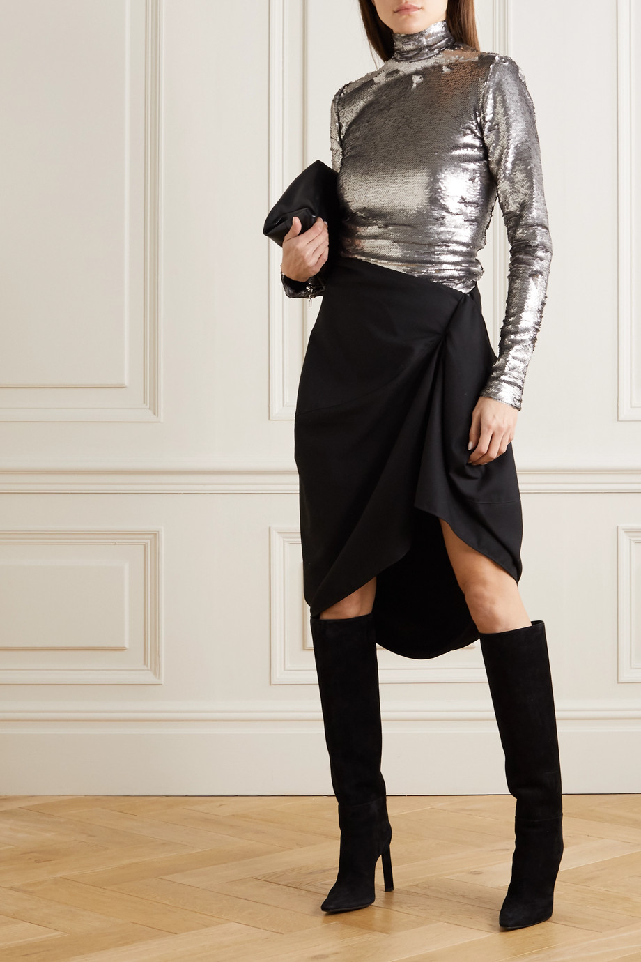 ioannes Sequined jersey turtleneck top