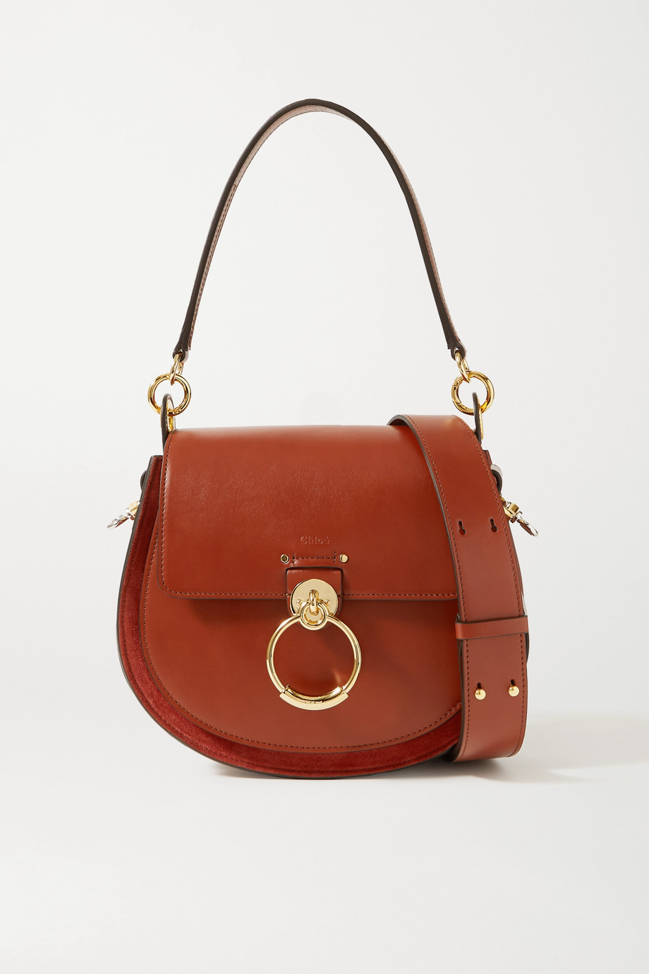Chloé Tess large leather and suede shoulder bag