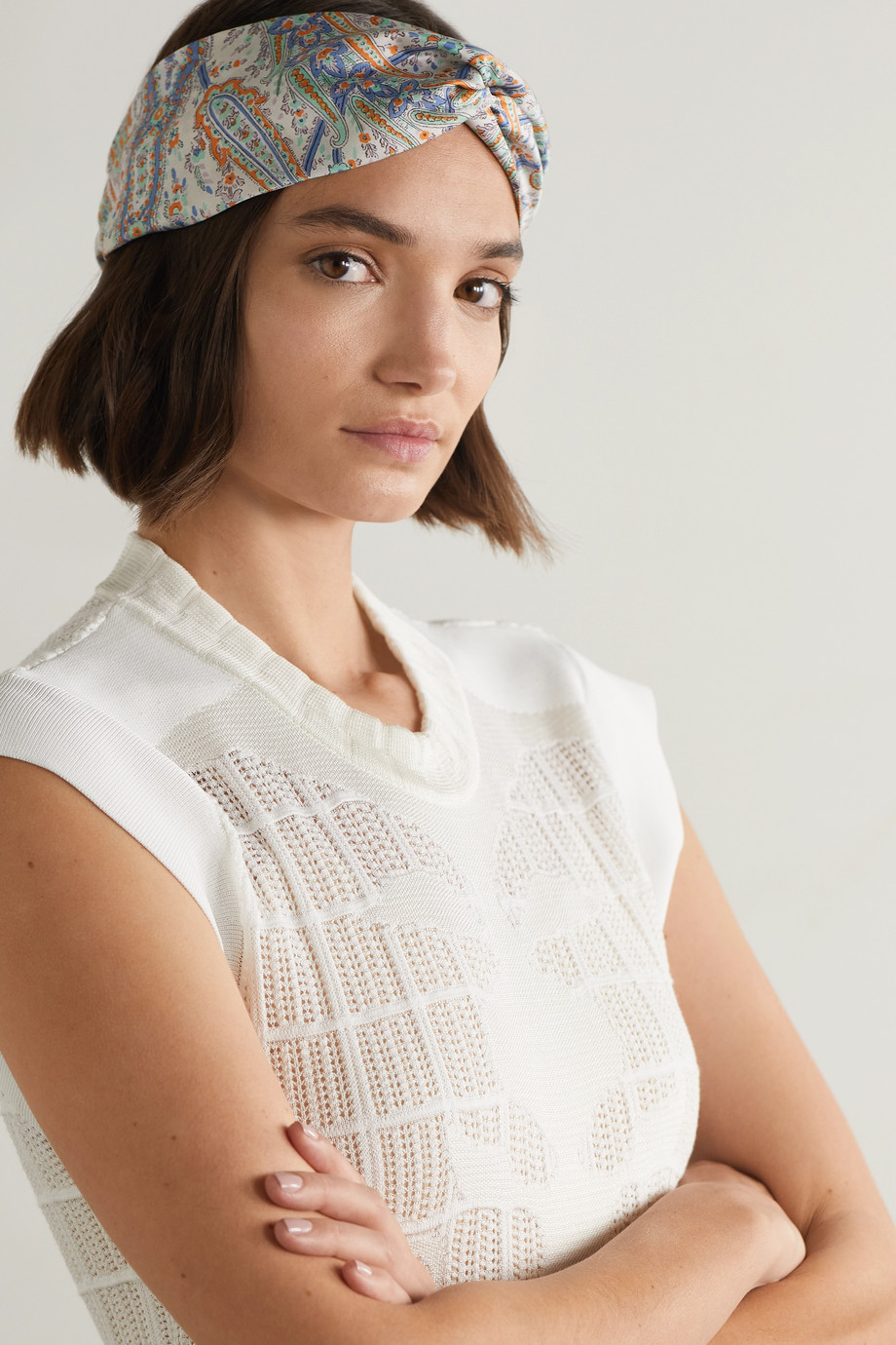 Etro Knotted paisley-print silk-twill headband