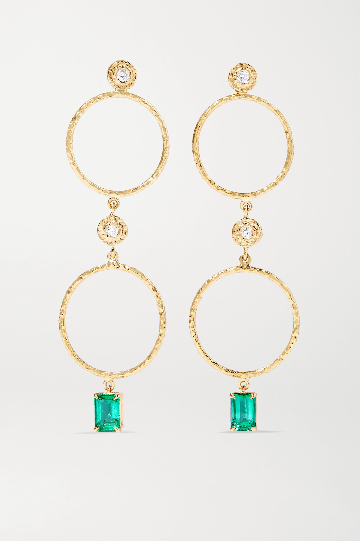 Octavia Elizabeth + NET SUSTAIN Nesting Gem 18-karat recycled gold, emerald and diamond earrings