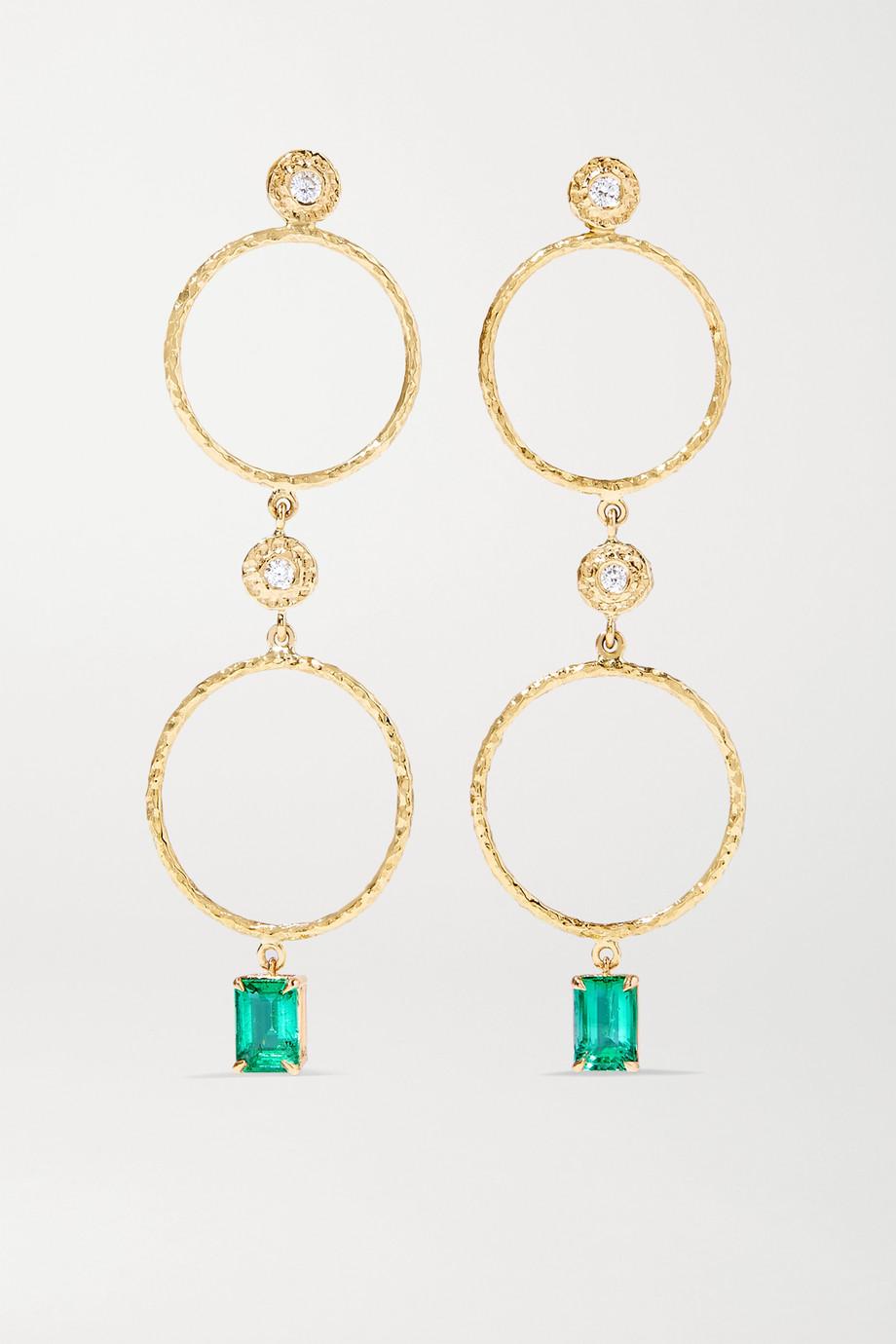 Octavia Elizabeth + NET SUSTAIN Nesting Gem Ohrringe aus 18 Karat Gold mit Smaragden und Diamanten
