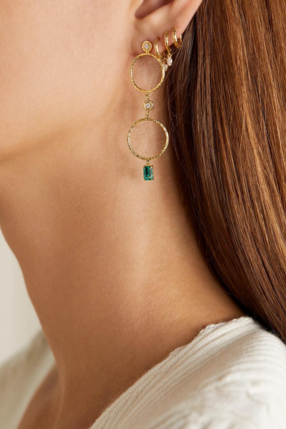 Octavia Elizabeth + NET SUSTAIN Nesting Gem 18-karat gold, emerald and diamond earrings