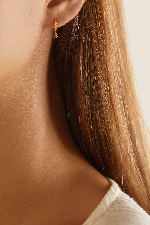 Octavia Elizabeth Micro Gabby 18-karat gold ruby hoop earrings